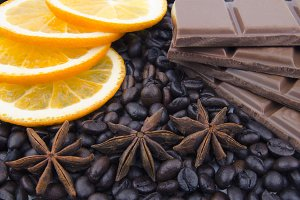 Fragrant spices, coffee, orange and