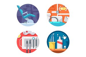 Dental clinic icons set
