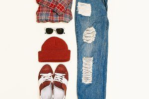 hipster accessories set.