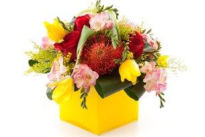 Floral arrangement with proteas