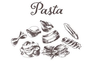 Hand drawn vector pasta