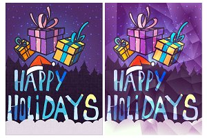 Happy Holidays Card, Hand Drawn