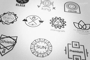 Symmetrical Geometric Badges Logos