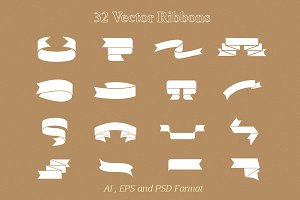 32 Vector Ribbon objects