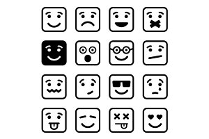 Square Smiley faces set