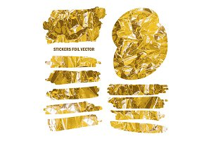 Set of stickers with gold foil