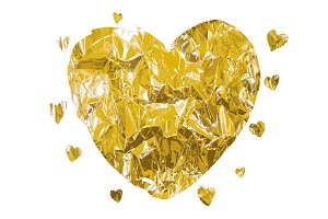 Heart made of foil. Big set. Vector