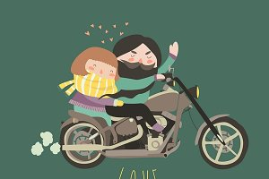 Couple in love riding a motorcycle