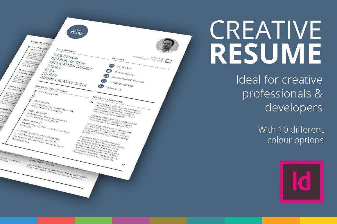 creative rsum template resume templates creative market - Resume Templates Indesign