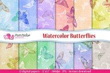 Watercolor Butterflies digital paper