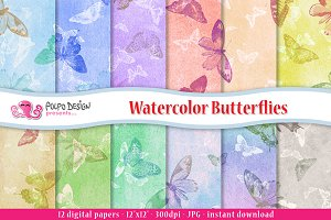 Watercolor Butterflies digital paper