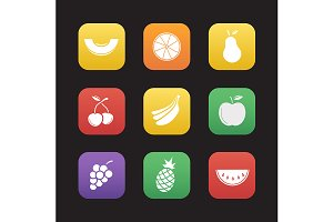Fruit. 9 icons. Vector