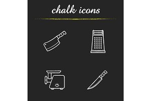 Kitchen equipment. 4 icons. Vector