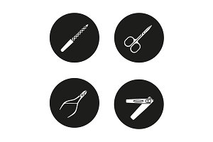 Manicure. 4 icons. Vector