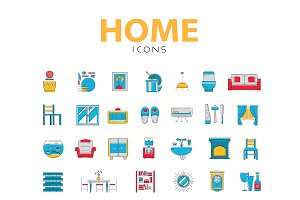 House related objects, vector icons