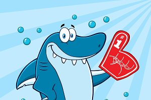 Shark Wearing A Foam Finger