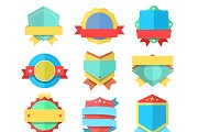 Flat style badge icons set