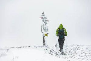 Hiker during a snowstorm