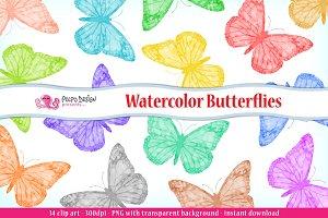Watercolor Butterflies clip art