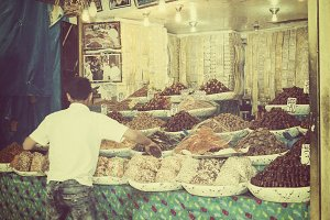 Selling fruits and nuts in Morocco