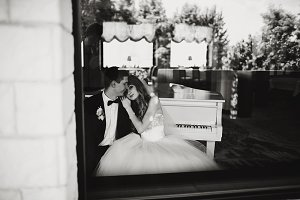 Daydreaming wedding couple