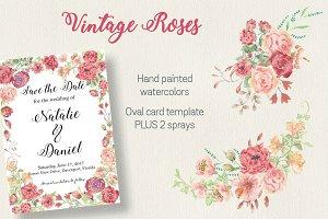 Watercolor template: vintage roses