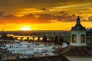 Sunset over Badajoz city
