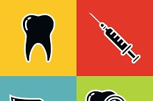 Tooth icons on color background