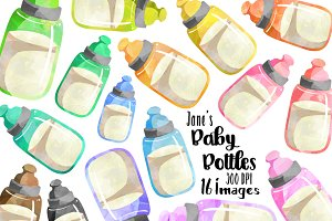 Watercolor Baby Bottles Clipart
