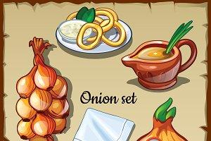 Onion food vector set