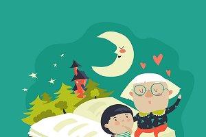 Grandmother tells a fairytales