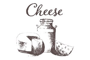 Hand drawn cheese vintage vectorized