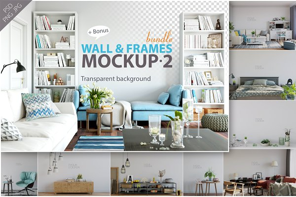 Wall & Frames Mockup - Bundle Vol…