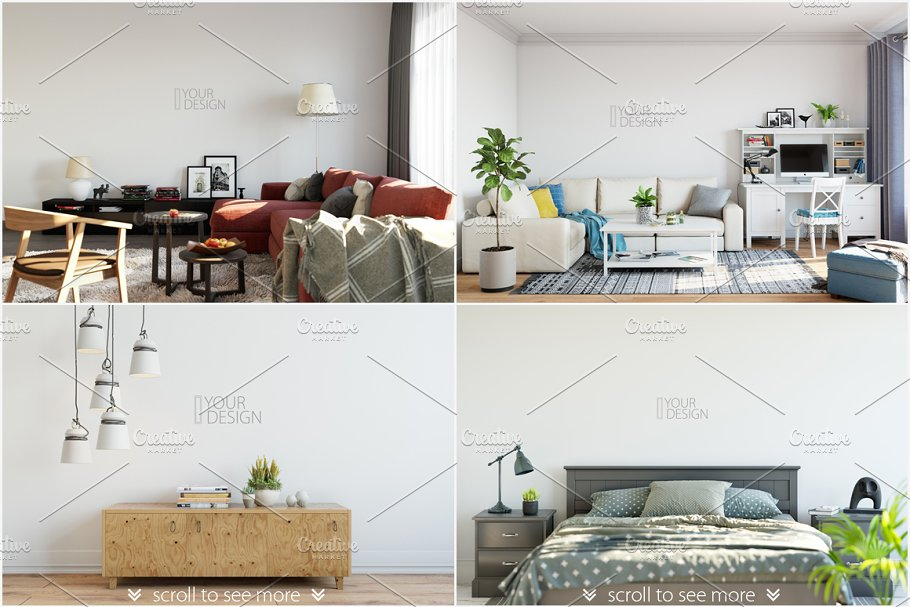 Interior Wall & Frames Mockup - 2 - Product Mockups | Creative ...