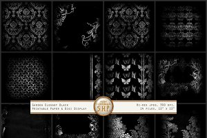 Elegant Garden Black & White pattern