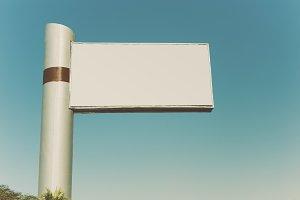 Mock up of blank white billboard
