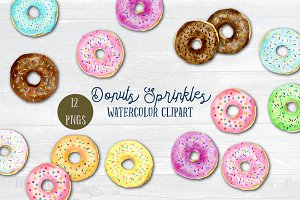 Watercolor Clipart Donut Sprinkles