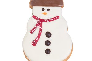 Snowman Cookie isolated on white