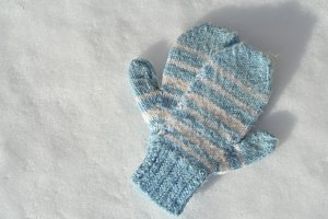 Blue Winter Holiday Mittens