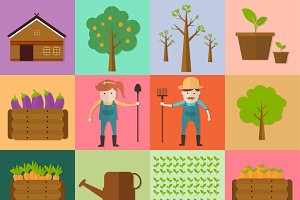 man and woman farming icon