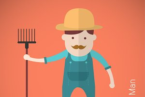 Farmer man with hay fork