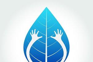 Eco friendly isolate hand hug leaf