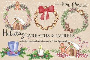 Watercolor Holiday Wreaths & Laurels
