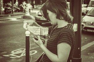 Young female tourist in Paris
