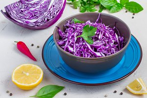 Purple cabbage salad and ingredients on a bright background.