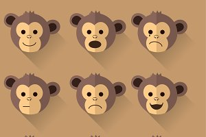 Monkey emotions illustration