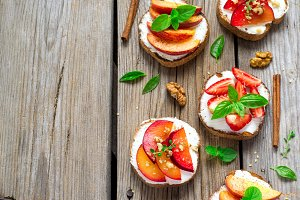 Fruit Bruschetta with cottage cheese and spices
