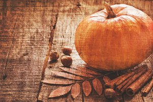 Autumn background with pumpkin in a vintage toning
