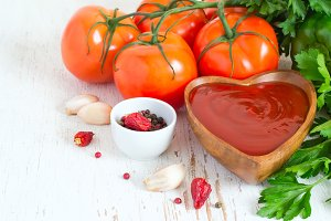 Tomato ketchup sauce with garlic, spices and herbs