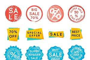 Discount retail stickers on white